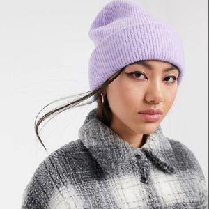 Monki Wool Blend Lavender Beanie
